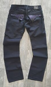 robin's jean MENS BLACKPURPLE EMBELLISHED JEANS 100% AUTHENTIC MADE IN USA