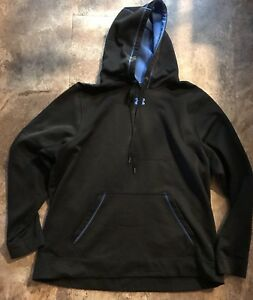 Mens Under Armour Loose BlackBlue Pullover Hoodie Size 2XL