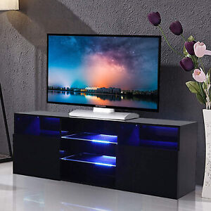 High Gloss Balck 57'' TV Stand Unit Cabinet with LED Light 2 Doors Console RC