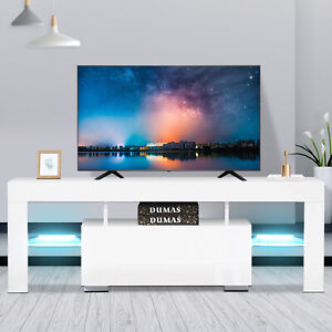 High Gloss White TV Stand Unit Cabinet w LED Light 2 Shelves Console Table RC