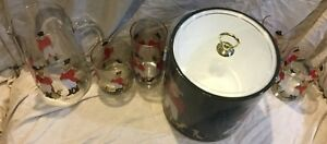 Reynard the Fox Old Fashion and Tumbler Glasses Pitcher and Ice Bucket Bar Set