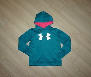 Girls UNDER ARMOUR Storm Hoodie Sweatshirt Sweater Teal Green Pink YLG L Large