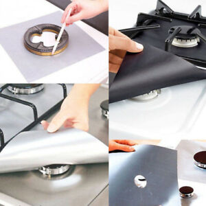 4pc Reusable Gas Range Stove Top Burner Protector Liner Cover For Cleaning -Pack