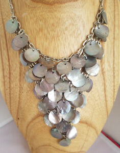 Abalone Disk Layered Bib Style Necklace Silver Tone Mermaid Fish Scale Statement