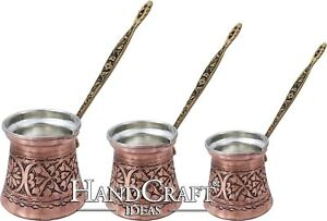 Engraved Copper Coffee Pot Set- Small-150ml Medium-250ml Large- 400ml(CPS-104)