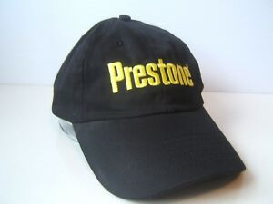 Prestone Spell Out Hat Black Snapback Baseball Cap w Yellow Lettering