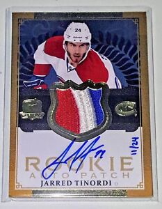 JARRED TINORDI 13 14 THE CUP RPA 3 COLOR JERSEY PATCH AUTO GOLD #D 24 AUTOGRAPH