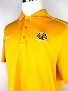 Mens Nike Dri-Fit Yellow Polo Ole Southern Miss Short Sleeve Shirt Collared  XL