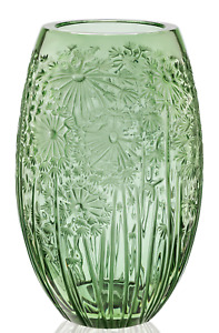 Lalique Vase Crystal Bucolique Dandelion 13in Large GREEN Clear Floral 11lbs MIB