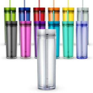 One Tall Skinny Tumblers Acrylic 16 Ounce Tumblers with Straw
