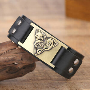 Animal Fox Cuff Bangle Triquetra Trinity Faith Blessing Leather Bracelet For Men