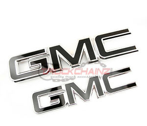 2 NEW CUSTOM 15-18 GMC SIERRA CHROME AND BLACK GRILL & TAILGATE EMBLEM SET KIT