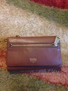Brown Leather FOSSIL Tri-fold Women's Wallet