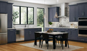 All Wood RTA 10X10 Transitional Kitchen Cabinets in Fashion Blue - Modern