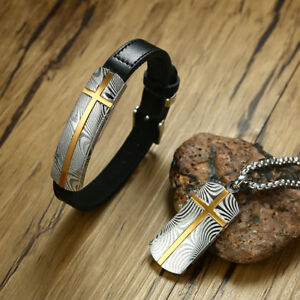 Punk Men Leather Bracelet & Necklace Pendant Damascus Cross Muhammad Jewelry Set