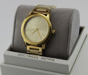 NEW AUTHENTIC MICHAEL KORS HARTMAN GOLD BRACELET WOMEN'S MK3490 WATCH