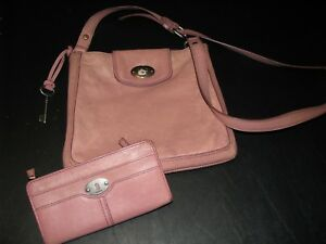 FOSSIL Ladies shoulder bag with matching wallet pink leather