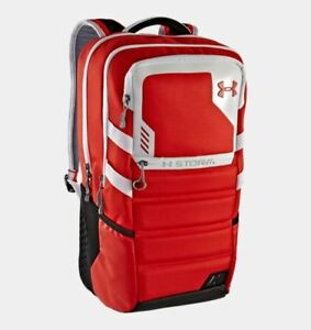 Under Armour Parralux Storm Backpack Laptop Bag Red White Gray - Orig $150