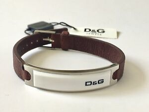 Men's Unisex Dolce & Gabbana D&G Designer Jewelry Brown Leather Cuffwith logo