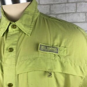 Reel Legends men's vented shirt size XL short sleeve fishing snap front lime