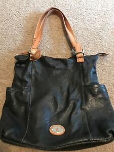 Womens Fossil Black Soft Leather Bag Tan Straps Shoulder Purse