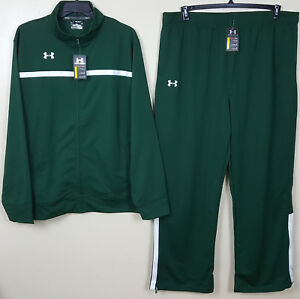 UNDER ARMOUR BASKETBALL WARM UP SUIT JACKET + PANTS GREEN WHITE NEW (SIZE 3XL)