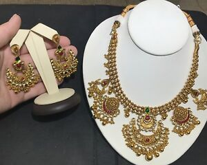 Handmade 22KT Yellow Gold Intricate Design Ruby & Emerald Necklace & Earring Set