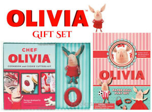 Chef Olivia Cookbook & Cookie Cutters Kit and Olivia Paper Doll Play Set  NEW