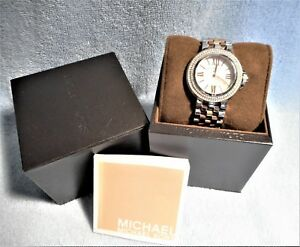 "Michael Kors Women's MK3186 ""Lucy"" Crystal Accent Watch Tri-Tone Bracelet #298"