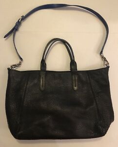 Cole Haan Black Pebbled Leather Tote Bag W Crossbody Strap