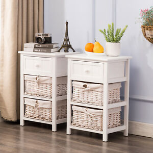 Set of 2 White Nightstand End Table Bedside Table with Wicker Storage Wood