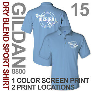 15 Custom Screen Printed Sport Shirts polo 1 ink color 2 locations S-XL