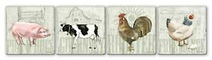 Set of 4 Absorbent Ceramic Tile BARNYARD Cow Pig Rooster Hen Drink Coasters