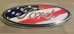 AMERICAN FLAG 2005-2014 Ford F150 FRONT GRILLE/ TAILGATE 9 inch Oval Emblem 1PCS