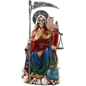 Santa Muerte Saint of Holy Death Seated Religious Statue 9 Inch Seven Powers