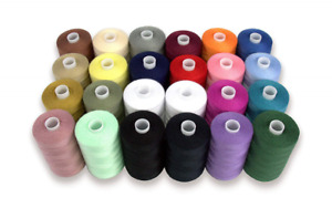 Sewing Thread Spools 24 Pc Assorted Lots Colors 100% Polyester 1000 Yds Each NEW $25.99