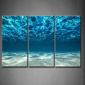 Large Modern 3 Pcs Set Print On Canvas Painting Blue Ocean Sea Picture Wall Art $58.99