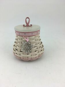 Longaberger 2009 Horizon of Hope Whitewashed Basket Combo w Lid TO