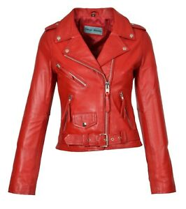 Womens Genuine Red Leather Biker Style Jacket Girls X-Zip Fitted Designer Coat