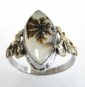 10K YELLOW GOLD & 925 STERLING SILVER VINTAGE GENUINE DENDRITIC AGATE RING SZ 7