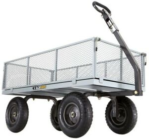 Utility Cart 1000 lb. 13 in. Pneumatic Tires 2-in-1 Convertible Handle Steel