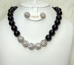 Black Cocktail Evening Party Pearls Necklace Earring Jewellery Set Gift 4 Ladies