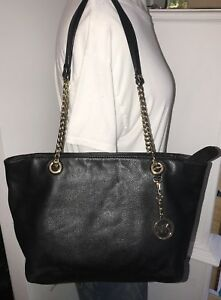 MICHAEL KORS Black Leather Tote Bag Purse with Chain Strap