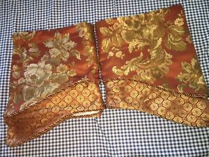 "Set Of 2: Waterford Linens Chinoiserie Scallop Valances 54 X 18"" Cinnabar Gold"