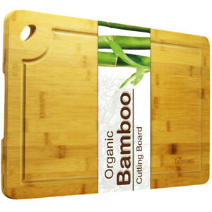 Organic Bamboo Cutting Board with Juice Groove - Kitchen Chopping Board for Food