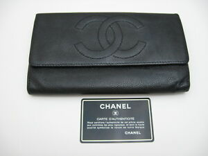 Authentic CHANEL Black Caviar Leather Wallet Clutch