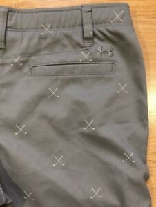 UNDER ARMOUR Golf Shorts Youth 16 Gray With Golf Club Print $34.99