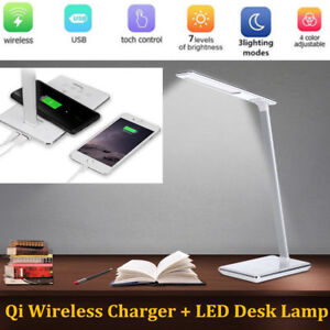 LED Desk Lamp Table Folding Light & QI Wireless Charger For iPhone X/Samsung S8
