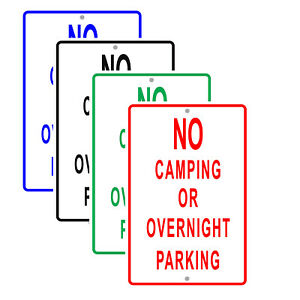 No Camping Or Overnight Parking Restriction Policy Notice Aluminum Metal Sign