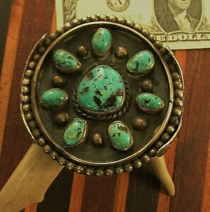OLDER  VTG  SW   NAVAHO  CUFF  W 8  TURQUOISE  STONES  STERLING